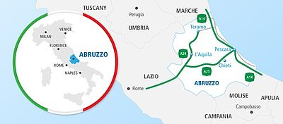 Map showing route from Rome to L'Aquila